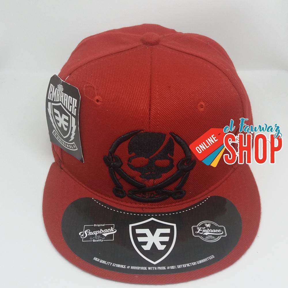 Topi Snapback Gaya Keren Tengkorak Merah - ( Laki-laki / Perempuan / Dewasa / Hat / Baseball / Hip Hop / Rap / Distro )