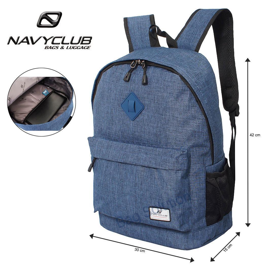Navy Club Tas Ransel Tas Pria Tas Wanita Tas Sekolah Laptop Kasual EIBB Backpack Up to 14 inch Daypaack - Biru