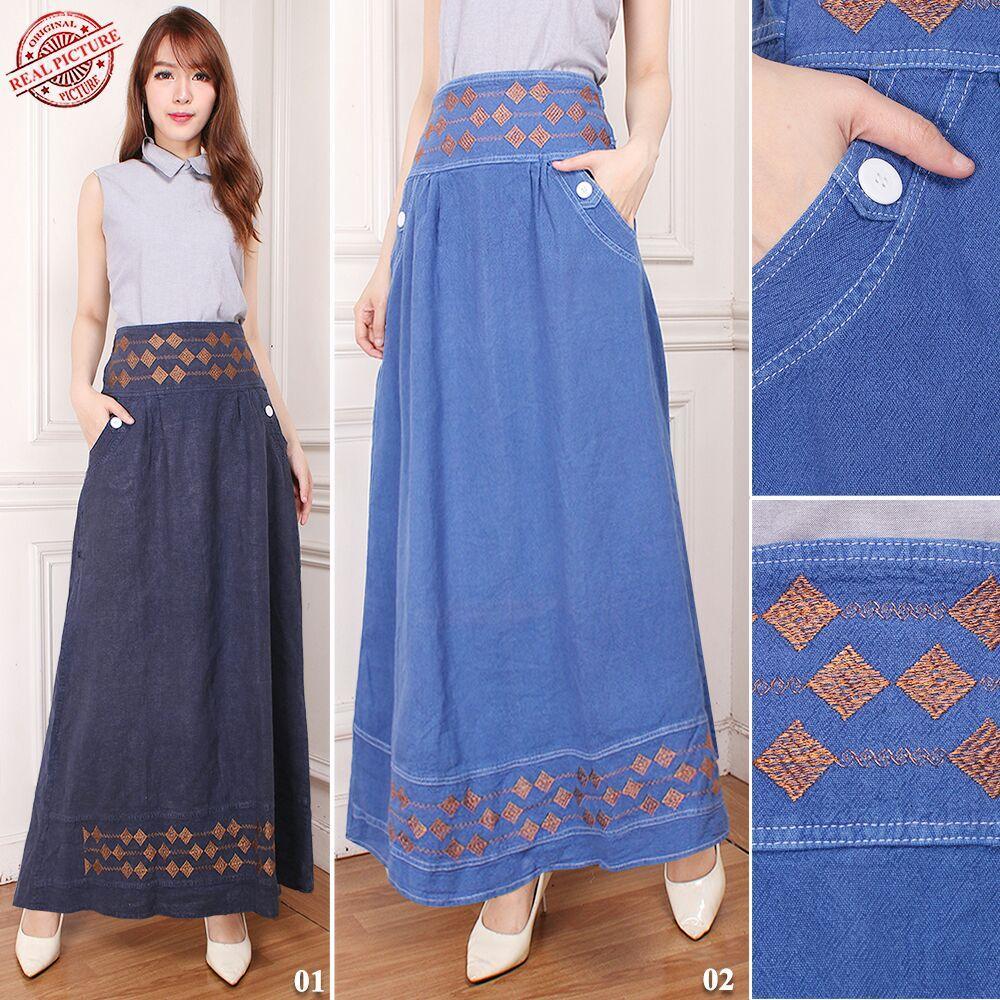 TJ Collection Rok Panjang Alensya Maxi Jeans Payung Wanita