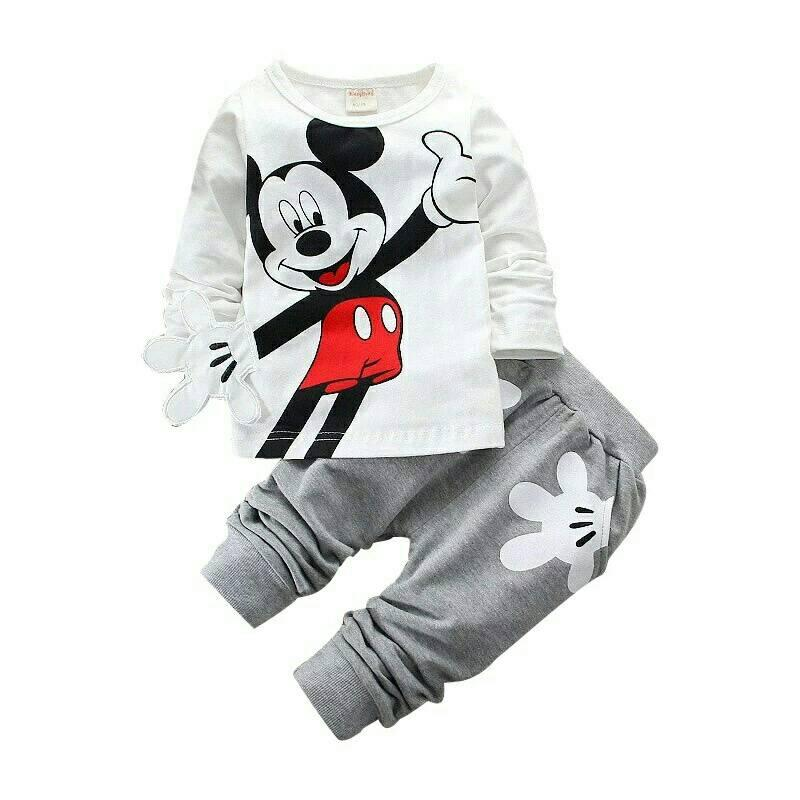 jc - set mikikimos tangan l HQ I 3D I kualitas premium l baju anak l baju pria l baju anak perempuan l cute mickey l disney ( baju+celana)