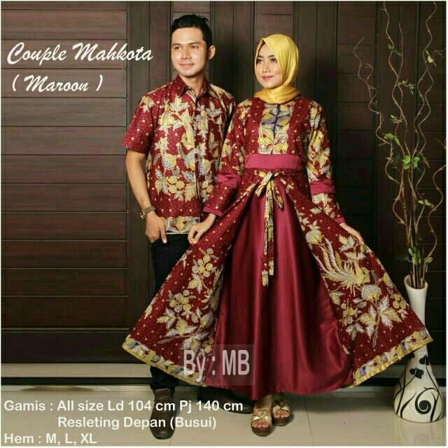TERMURAH-Batik Couple Modern - Baju Gamis Wanita Terbaru 2018 - Couple Batik - Batik Sarimbit - Baju Batik Kondangan - Baju Batik Mahkota Marun
