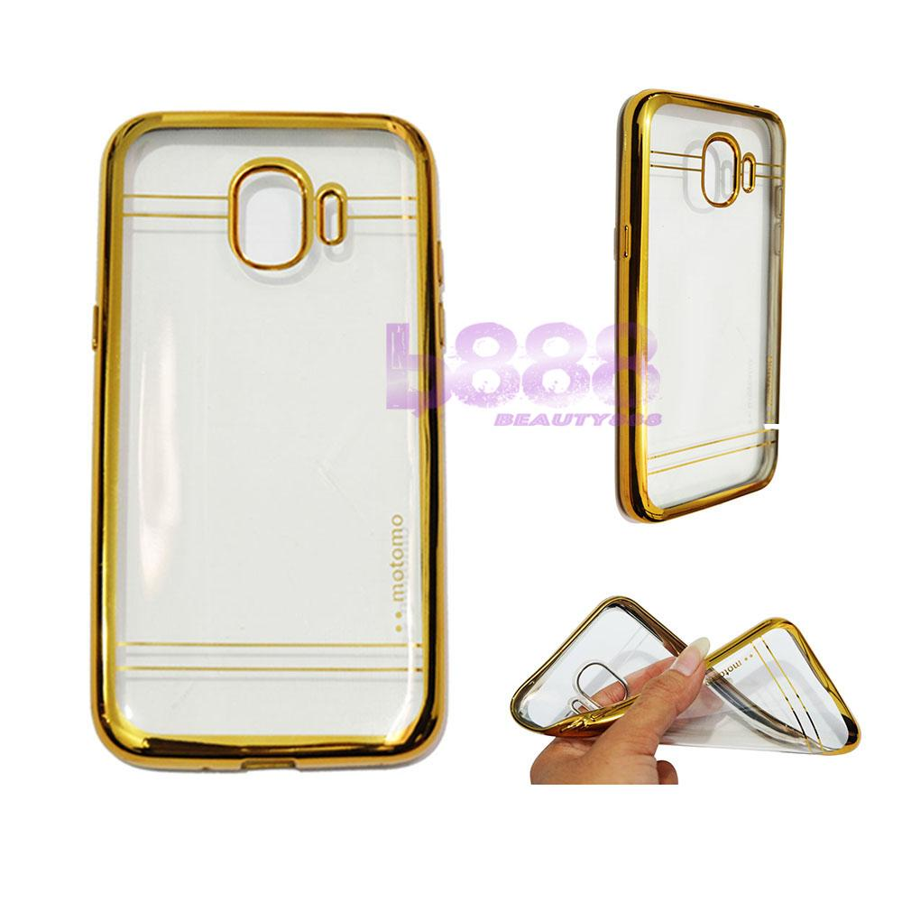 Motomo Chrome Case Samsung Galaxy J2 Pro 2018 Shining Chrome / Case Shining List Chrome / Ultrahin Samsung J2 Pro 2018 List Chrome Jelly Case / Silikon Samsung Galaxy J2 Pro 2018 Shining List / Soft Case / Casing Hp - Gold