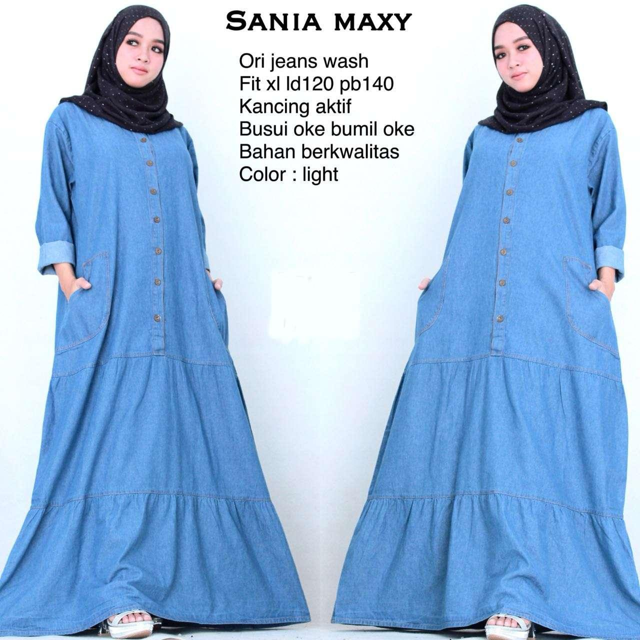 Gamis Jumbo Sania - Maxi Dress Jumbo - Long Dress Jeans - Big Size - KaLShop