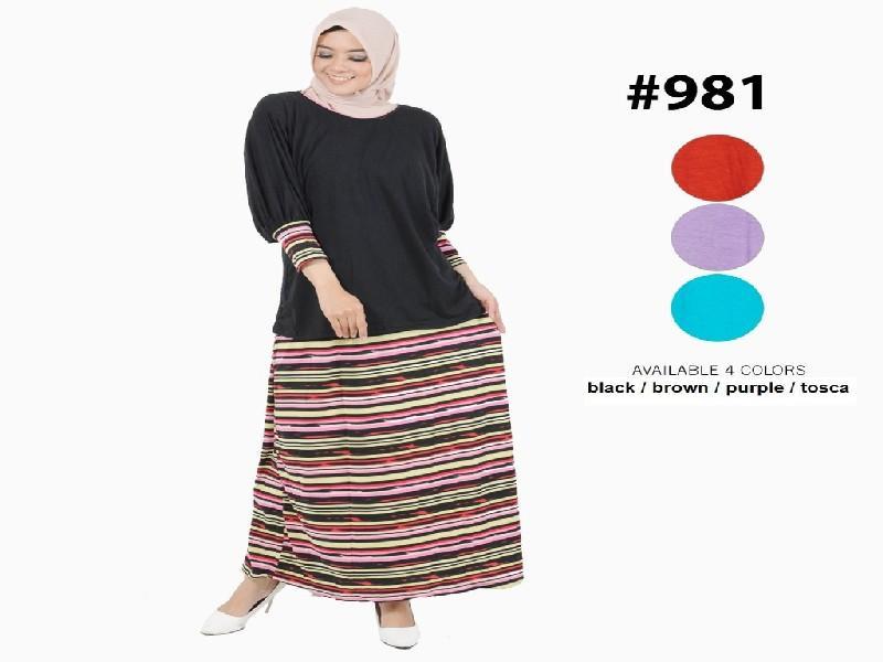 Fashion Baju Gamis Dress XL Jumbo Big Size Murah Wanita Muslim Kekinian 981