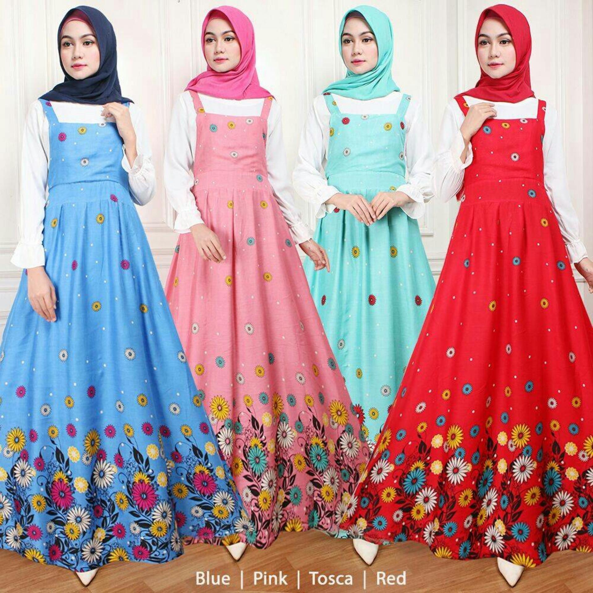 Claryne Maxi Overall Dress Wanita Muslim Lengan Panjang Motif Kembang Kekinian Bianca