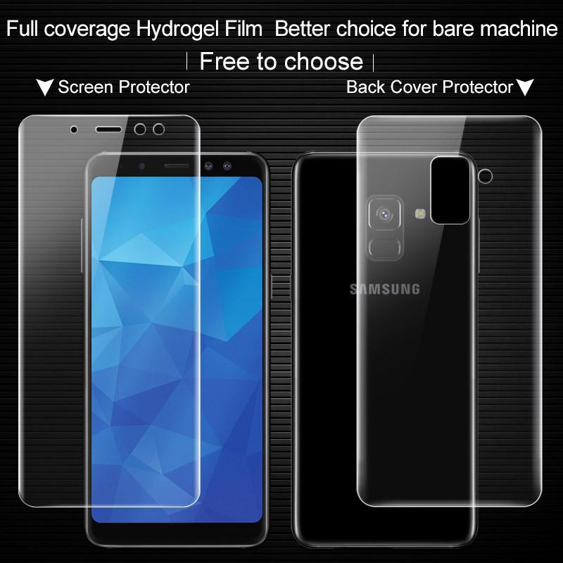 Untuk Samsung Galaxy A8 2018 Smartphone Depan Ponsel/Kembali Pelindung Layar Imak 0.15 Mm Ultra Tipis Hydrogel untuk A8 2018 3D Fi -Intl