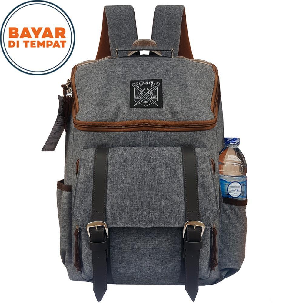 Backpack Pria Wanita Tas Ransel Tas Sekolah Tas Korea - Grey