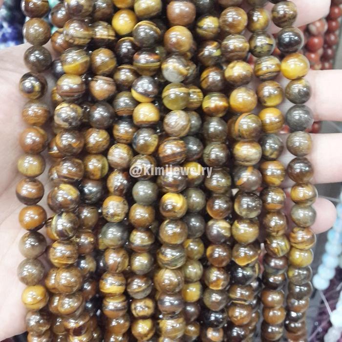Tiger Eye Stone Bead 8mm Bahan Aksesoris Gelang Kalung Batu Natural Asli Original