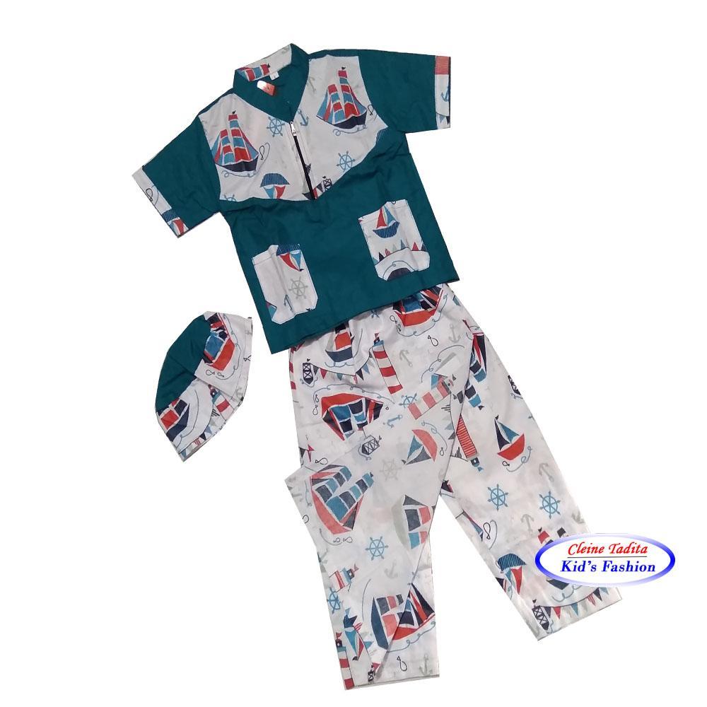 Paket Sarkoci Anak MOTIF PERAHU (Sarung. Baju Koko & Instan Peci)