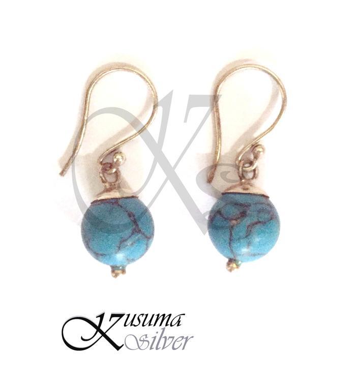 Anting Earrings Silver Perak Bali Bandul Biru Muda Turquoise Asli 925