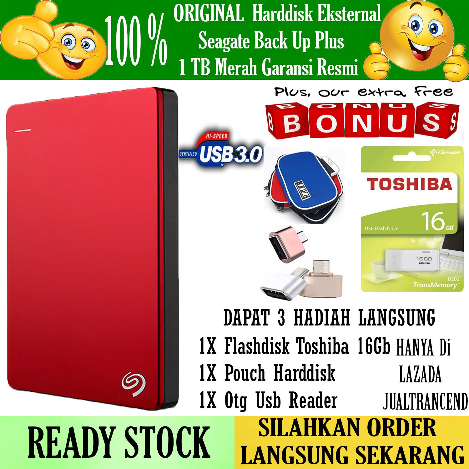 Seagate Backup Plus Slim 1TB - HDD - HD - Hardisk External 2.5 - Merah + Gratis  Flashdisk 16Gb Toshiba Usb 2.0 +Pouch Harddisk + Otg Mini Reader