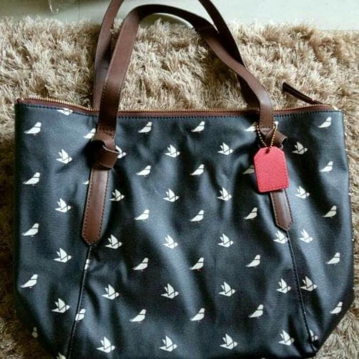 Fossil Mia Tote Shopper Bag Bird // Stripe . Tas Fossil Original