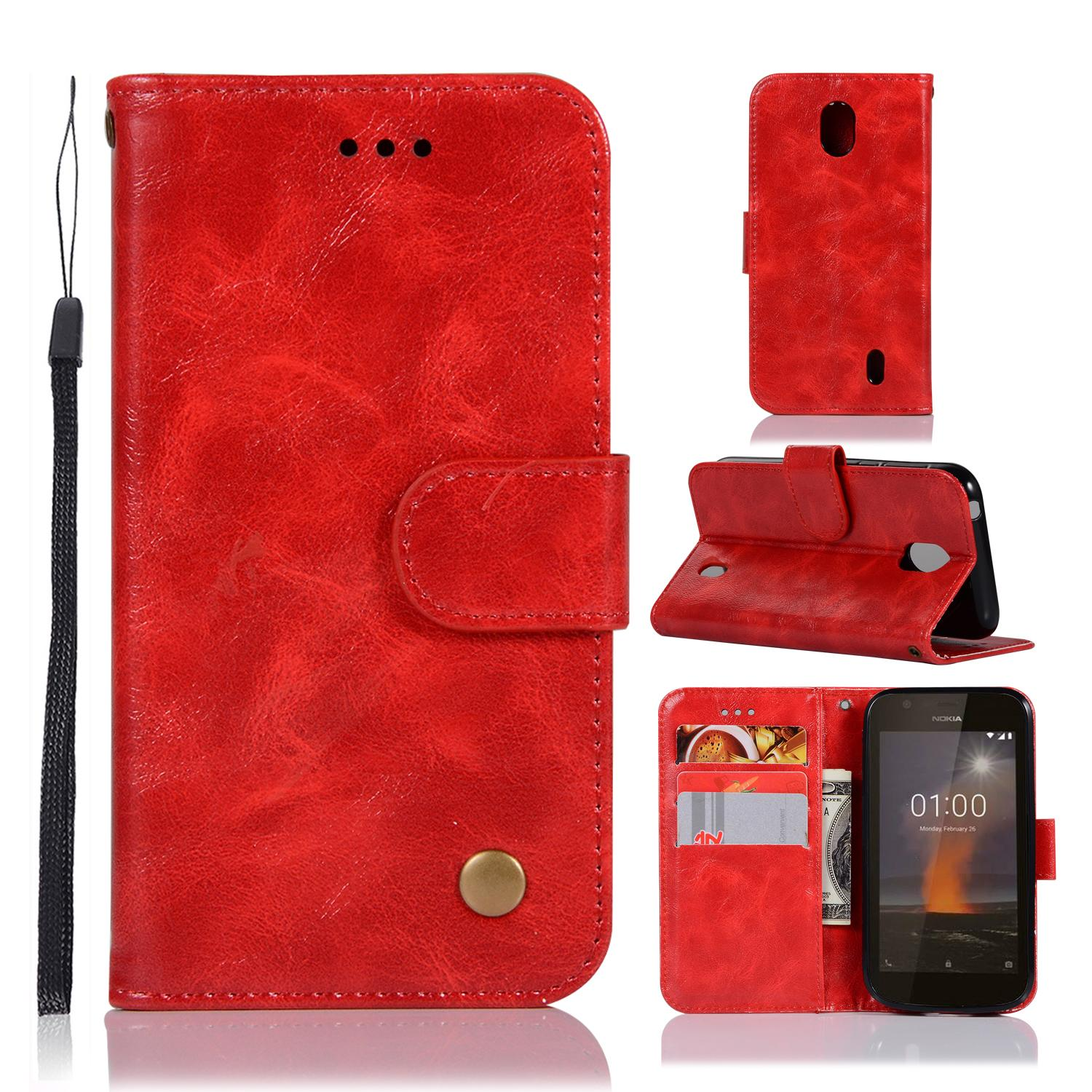 Casing For Nokia 1,reto Leather Wallet Case Magnetic Double Card Holder Flip Cover By Life Goes On.