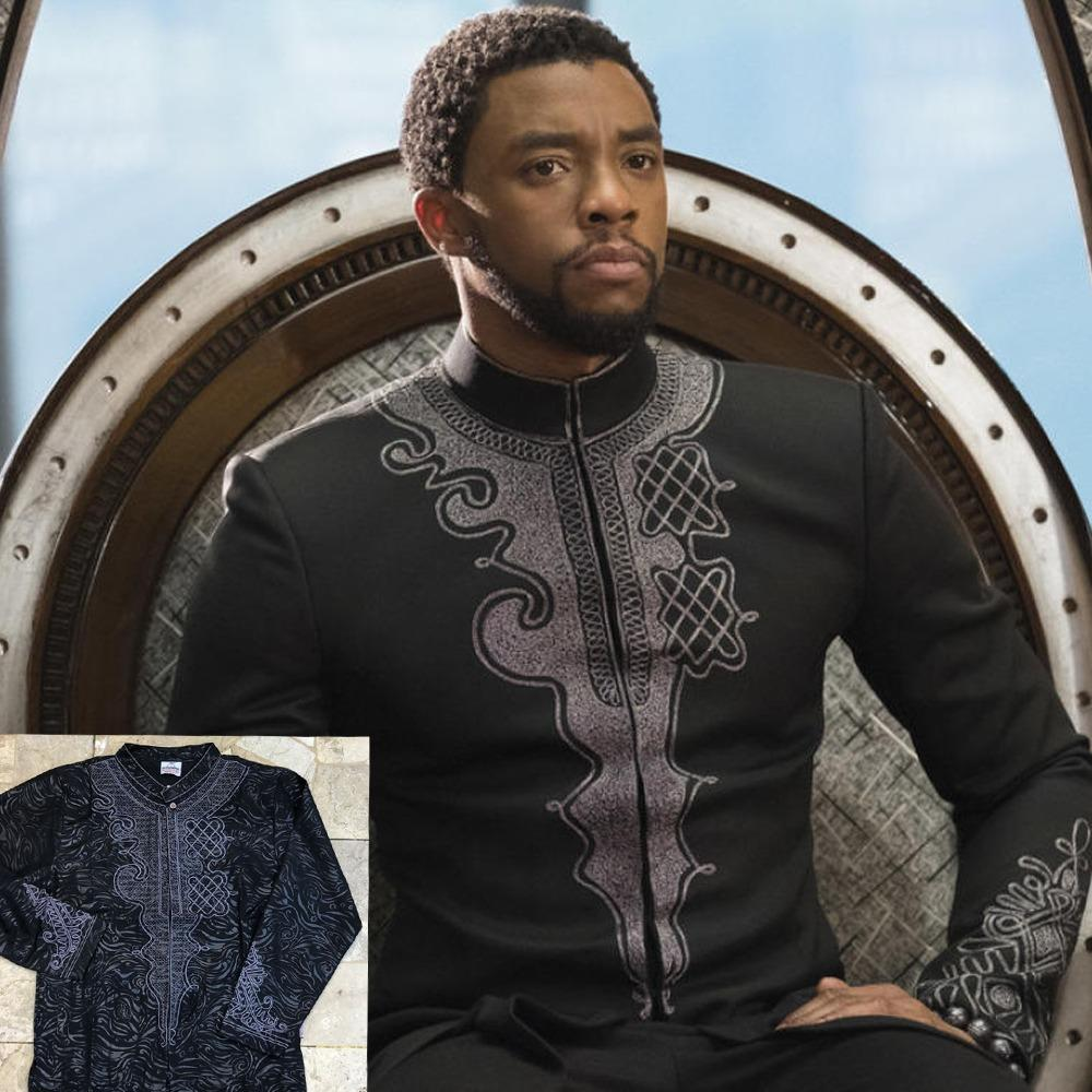 VM Baju Koko Muslim BLACK PANTHER Motip Bordir Hitam M to Big Jumbo XXL
