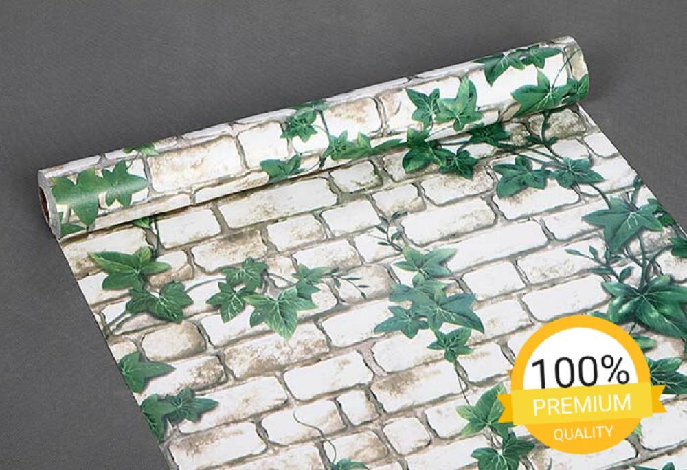 Gambar Produk Rinci Grosir murah wallpaper sticker dinding kamar ruang indah batu bata putih bunga jalar daun hijau Terkini