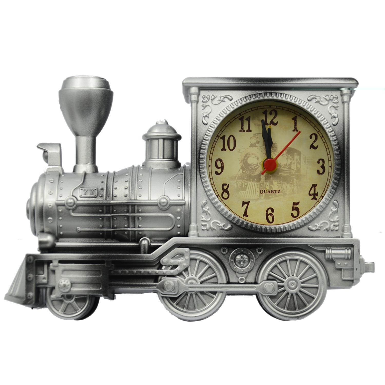 Vintage Retro Kereta Gaya Siswa Jam Alarm Tabel Meja Time Clock Cool Model Kereta Rumah Kantor Shelf Dekorasi Novelty Ulang Tahun Liburan Anak-anak Dewasa Boys Hadiah Silver