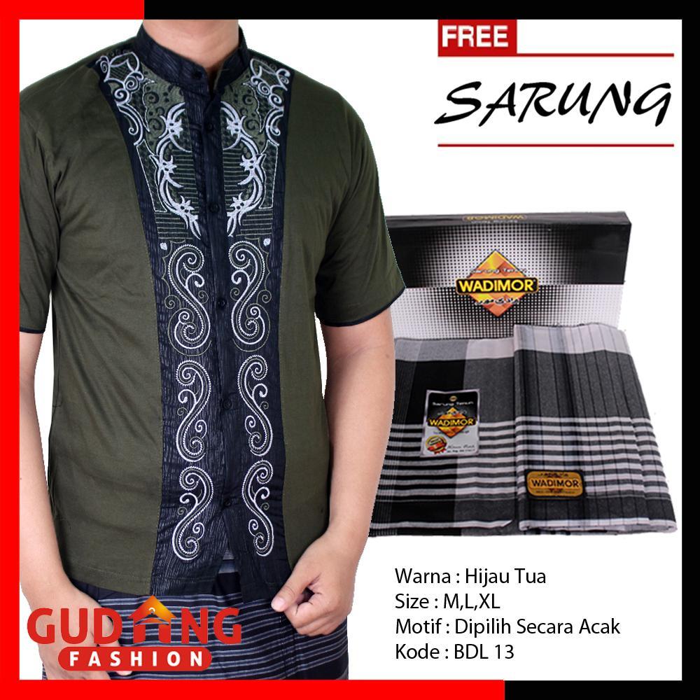 Gudang Fashion - Baju Koko Muslimin Pria Lengan Pendek + Free Sarung