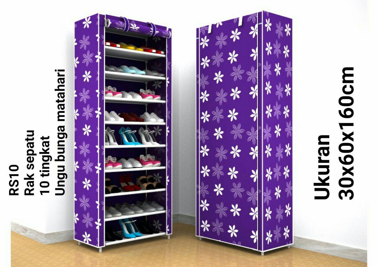 Kelebihan Rak Sepatu Shoe Rack Shenar 10 Tingkat Kain Oxford Black Amazing Susun 10susun 2kg Rs10chp Purple Flower