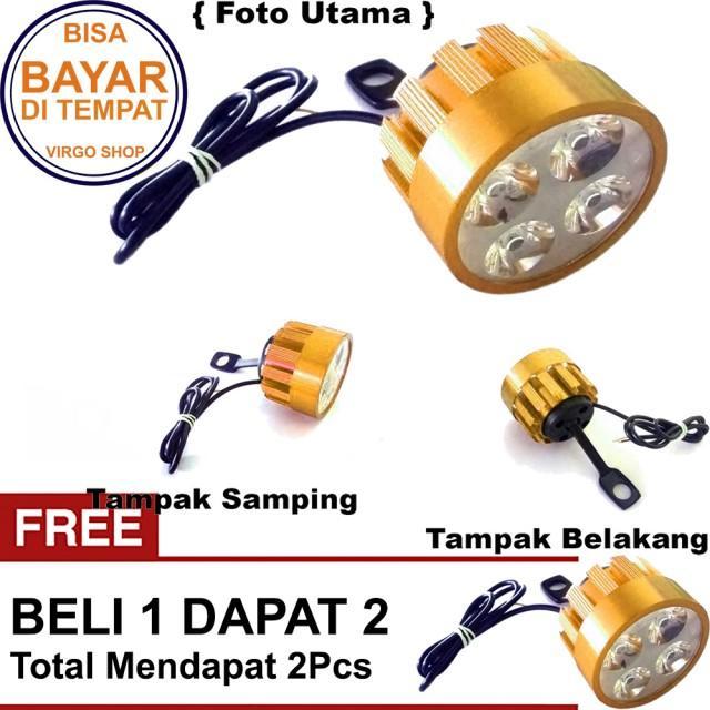 Beli 1 Dapat 2 Lampu Tembak LED 4 Mata Sorot Putih Model Baut di Spion - Gold