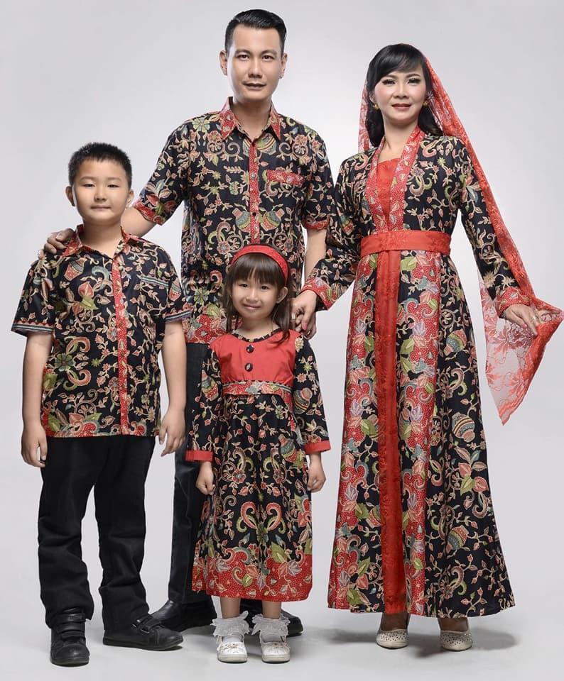 Baju Batik Keluarga Gamis Gentong Black