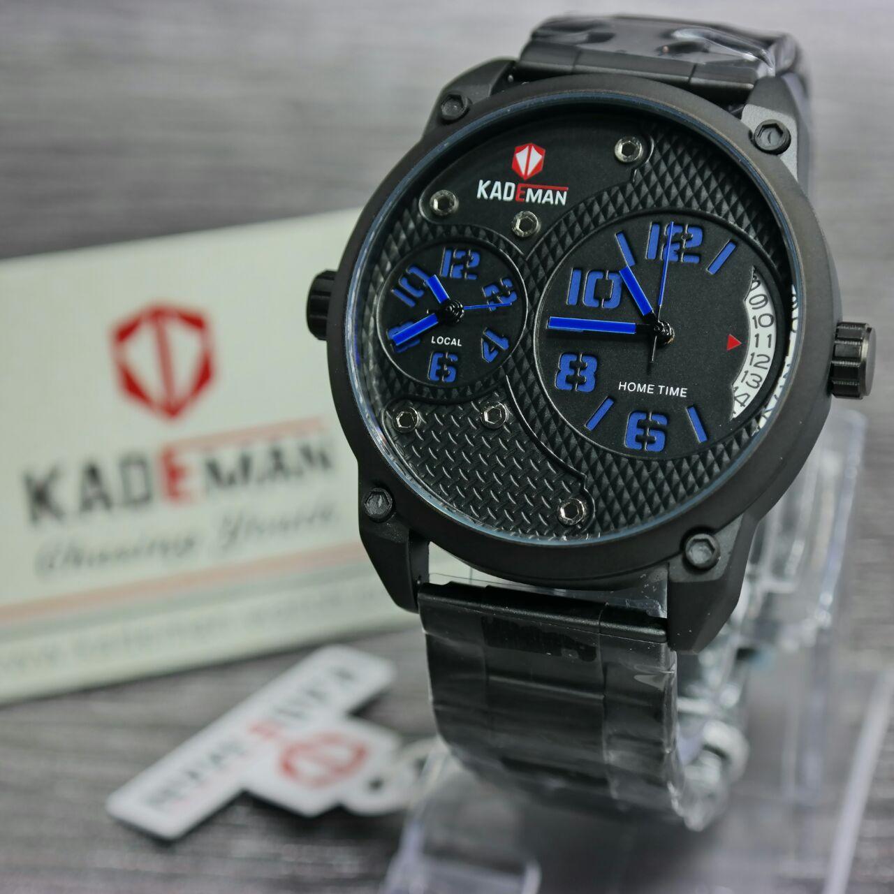 Kademan - Jam tangan Pria - Dual time Analog - Design Casual - Leather strap