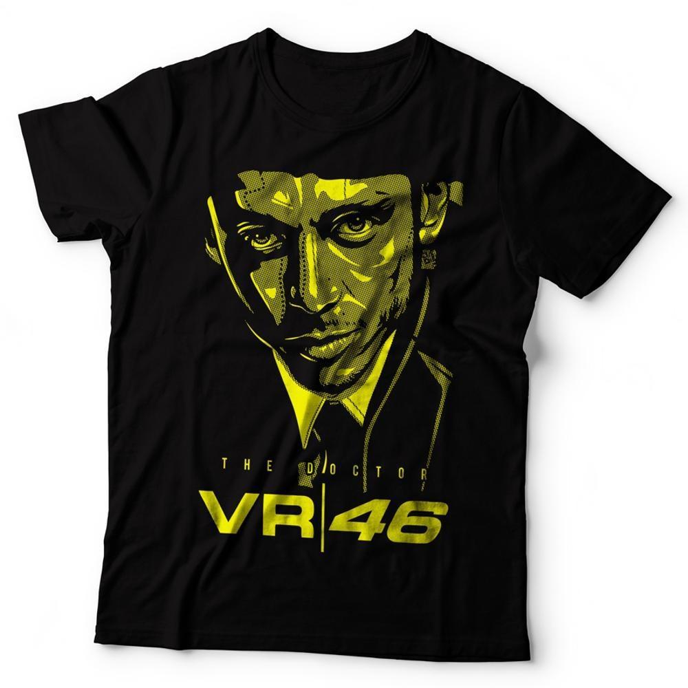 Kaos Baju Distro Rossi The Doctor Face Hitam ( T Shirt Baju Tshirt Vr 46 Forza Vale Motogp Movistar Rosi Vr46 ) Newotdesign Valen Tino Rosi OT DESIGN