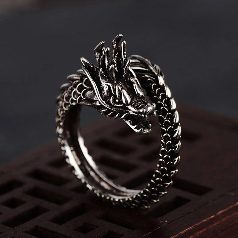 Aksesoris Cincin Pria Naga / Cincin Naga Cowok / Ular Bisa Untuk Cewek / Perempuan / Cincin Punk / Metal Unik Keren - Dragon Ring For Men / Women Good Quality