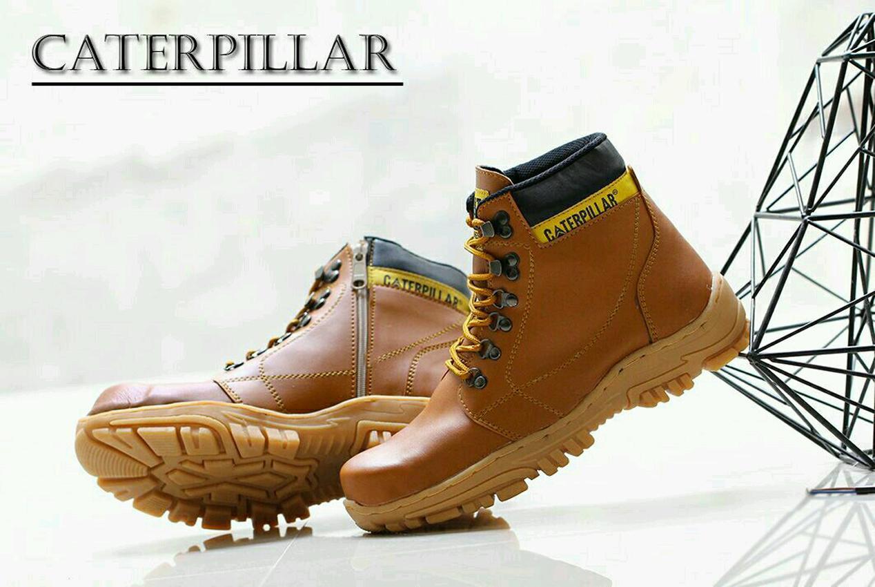 Sepatu CATERPILLAR Safety Boots Tracking Hikking Touring Pria Kerja Santai Murah - TAN