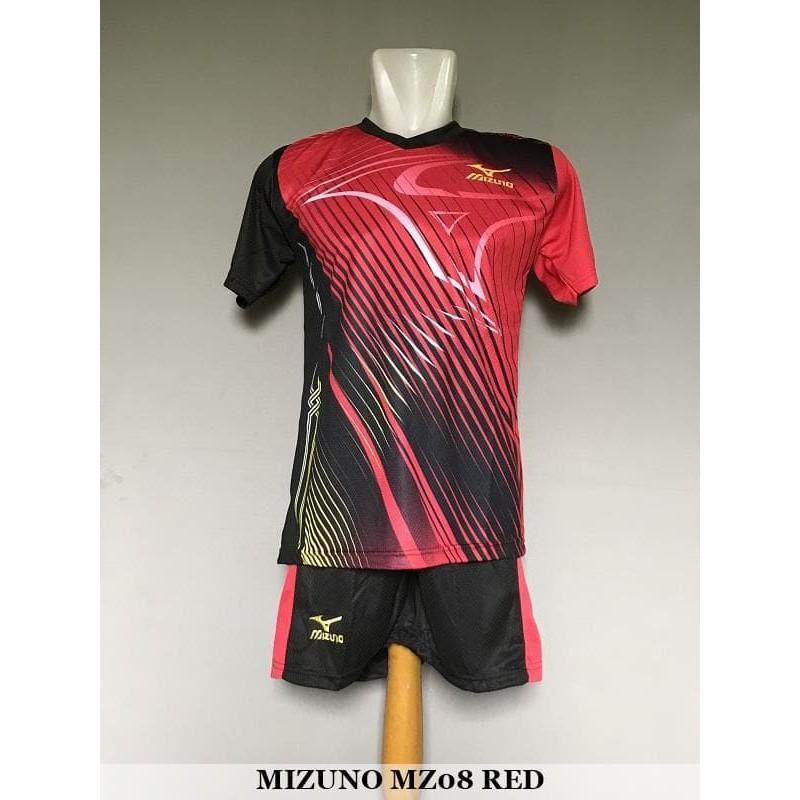 TERMURAH Mizuno MZ08 Red - Baju Kaos Celana Setelan Voli Volly Jersey Olahraga