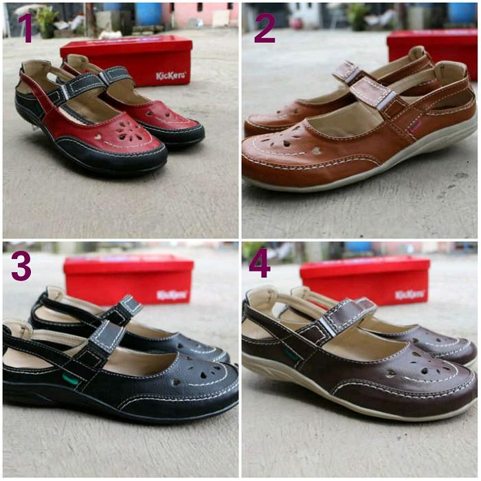 Sepatu Casual Wanita Kickers Elastis Polos Slop Santai Flat Shoes