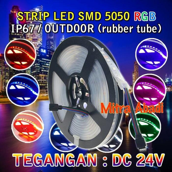 NEW Lampu LED Strip SMD 5050 RGB DC 24V IP67 + Rubber Tube WATERPROOF TERLARIS PROMO
