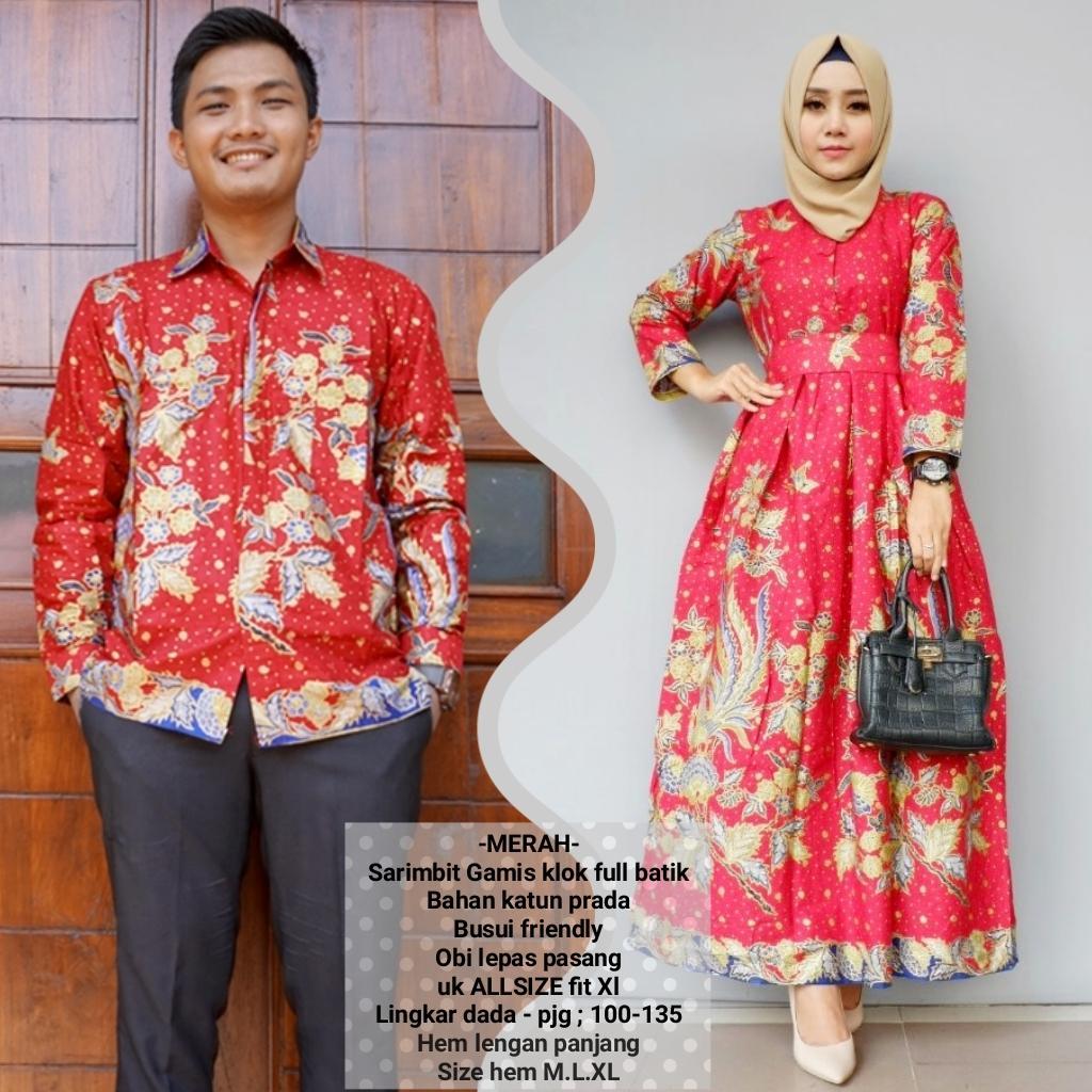 promo baju couple gamis batik terbaru bahan katun warna merah BSG622