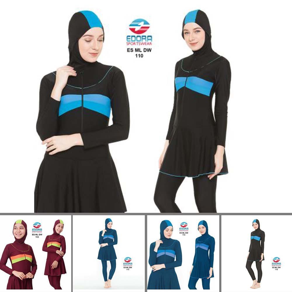Baju Renang Muslimah, Baju Renang Jilbab, Stelan Renang Muslim Dewasa Syari EDORA ES ML DW Murah