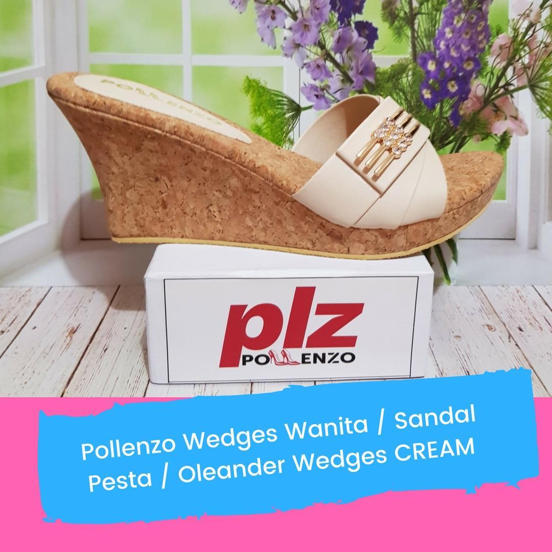 Pollenzo Wedges Wanita / Sandal Pesta / Oleander Wedges CREAM / Bisa COD