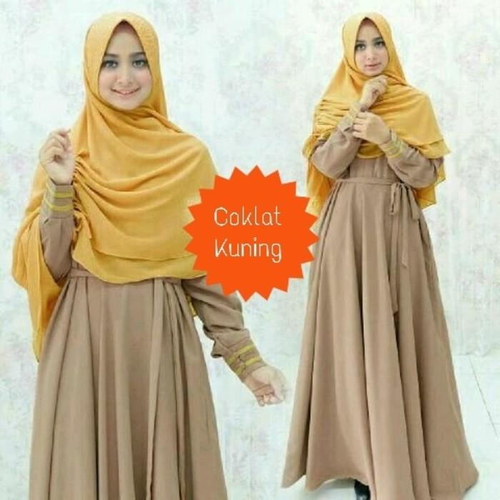 (JNH Shop)  Baju Muslim Pesta Gamis Yunmina Aneka Warna 1 Dress Maxi Hijab Trendy