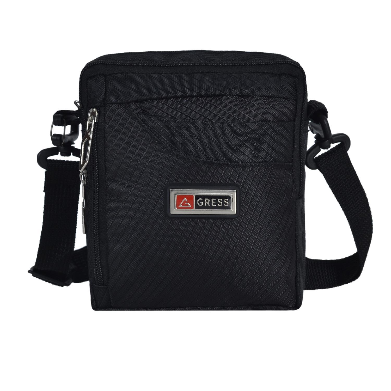 Tas Selempang Gress Pria 8 Inchi 6116 Material Polyester Salur Casual - Black