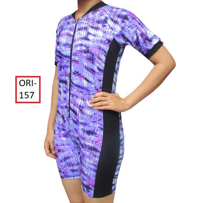 PROMO TERBATAS: Baju Renang Diving Wanita Murah Warna Biru Muda Loreng - Cantik - 157