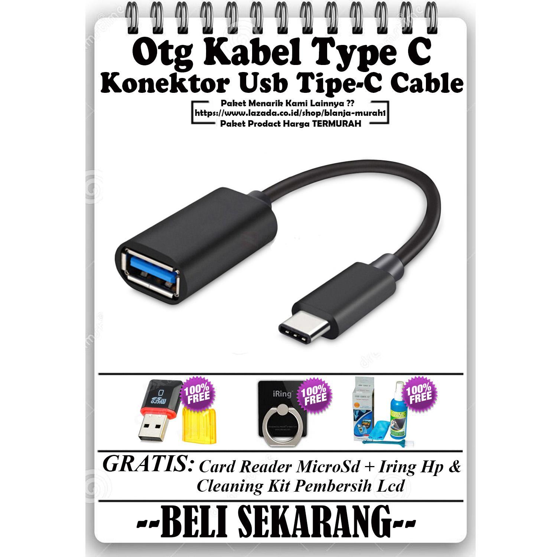 Trends OTG Kabel Type C Konektor Usb Tipe-C Cable - GRATIS Card Reader MicroSD + Iring Stand HP & Cleaning Kit Pembersih LCD PC Laptop