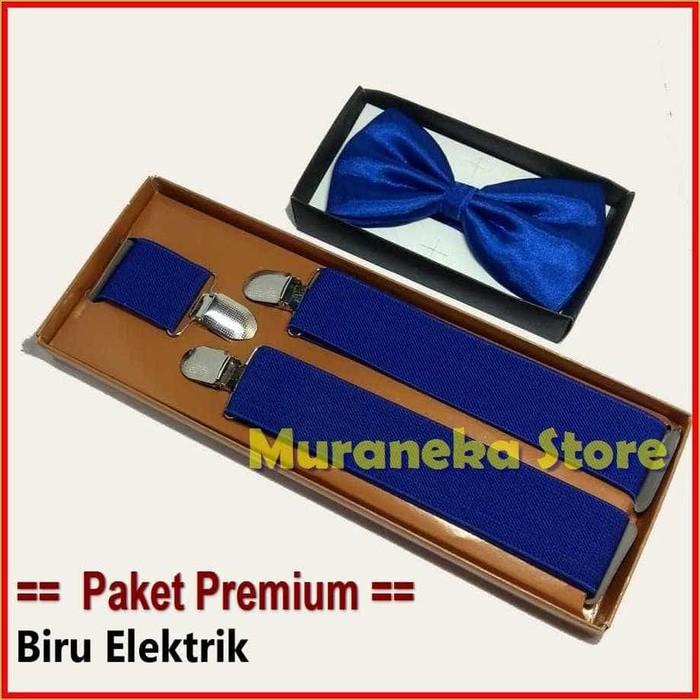 Paket Premium Biru Elektrik BLUE Dasi Kupu Bretel Suspender Baju BCA Electric Dewasa Polos Bowtie Tali Jojon Murah Pria Wanita Pesta Aksesoris Wisuda Pengantin Wedding Bridesmaid Promnight Prom MC Necktie Tuxedo Groomsman Nikah Brides Prewed