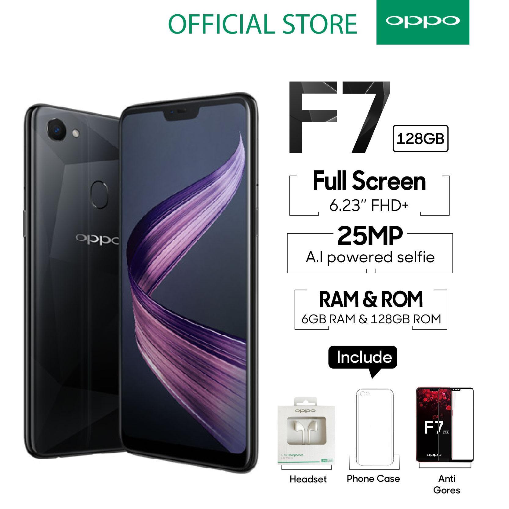 OPPO F7 Smartphone 25 MP Ai Camera 6GB/128GB Black -  (Cicilan TANPA Kartu Kredit, Garansi Resmi OPPO, Cicilan 0%)