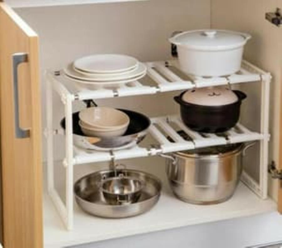 sale Kitchen Rack Portable Stainless Rak Dapur untuk Panci 2 Susun SJ0097