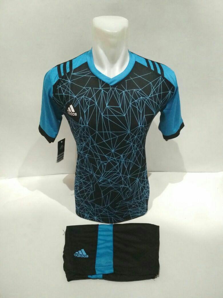 Baju Kaos Jersey Olahraga Setelan Bola Futsal Volly AD 02 Hitam biru