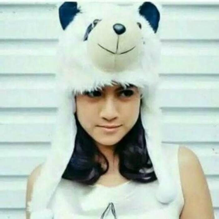 Animal Hat King Panda Senyum, topi boneka