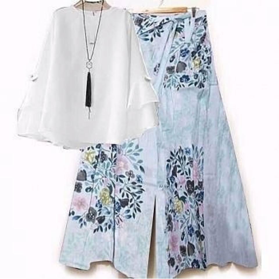 Baju Setelan Wanita Kulot Flowers Blouse Putih
