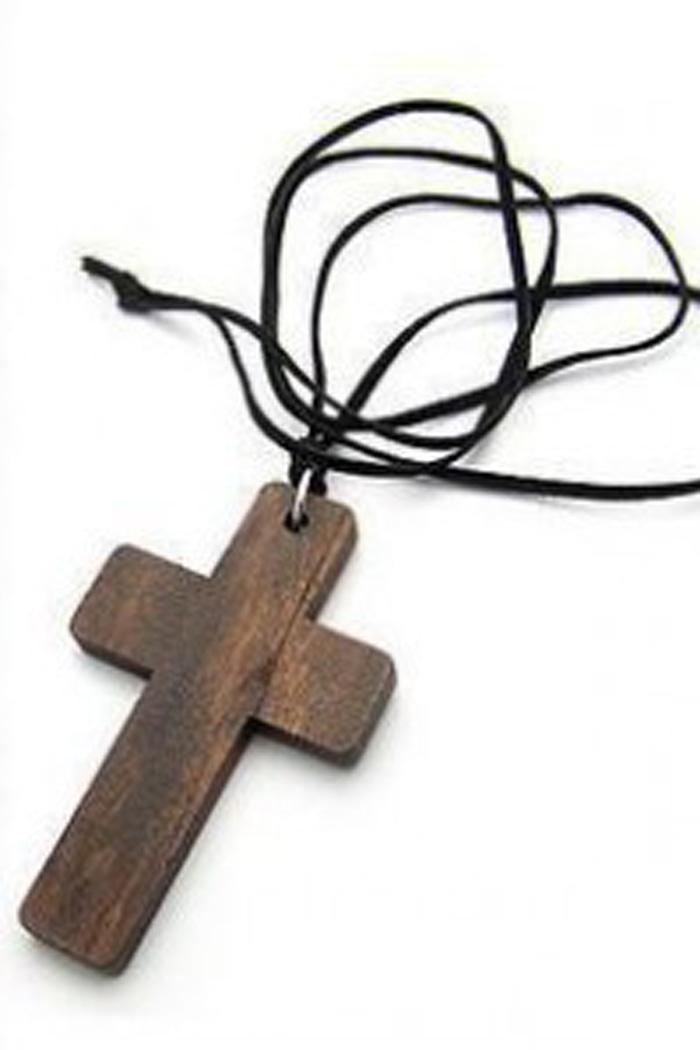 Kalung Salib Kayu / Wooden Cross Leather Cord Necklace MAY029