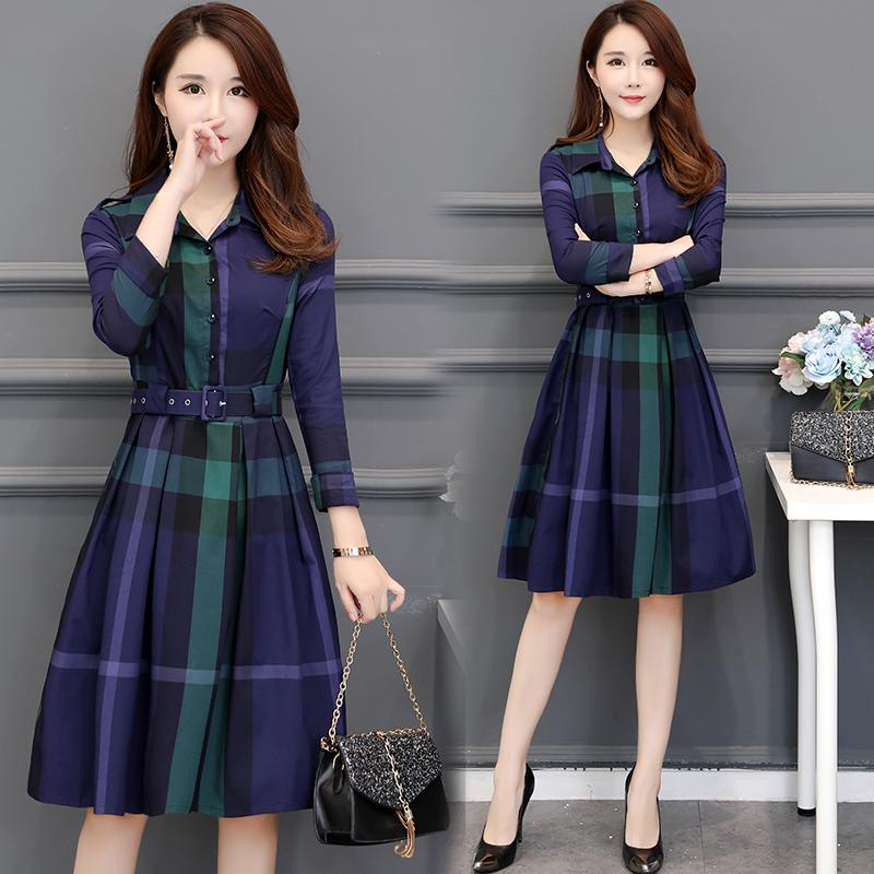 a5532f9e2b Plaid Dress Early Autumn 2019 New Style Korean Style Mid-length Waist  Hugging Cover Belly