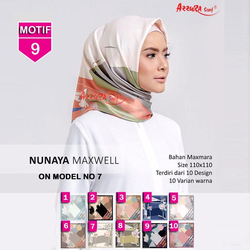 Hijab Segi Empat Nunaya MAXWELL 9 By Azzura Scarf - Jilbab kerudung MOTIF