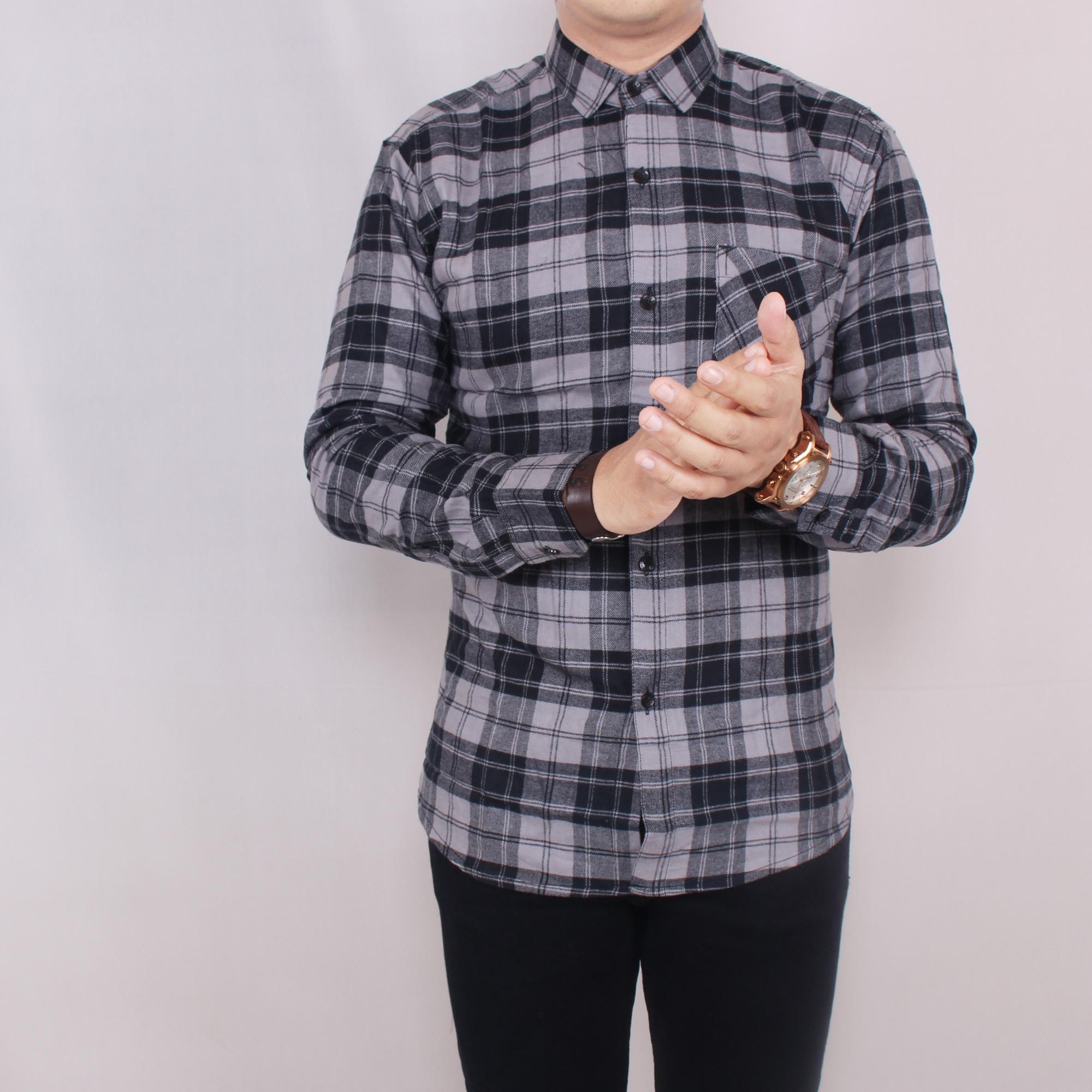 Zoeystore1 5674 Kemeja Flanel Pria Lengan Panjang Baju Kemeja Flannel Cowok Kerja Kantor Hitam Kotak Abu-abu Exclusive
