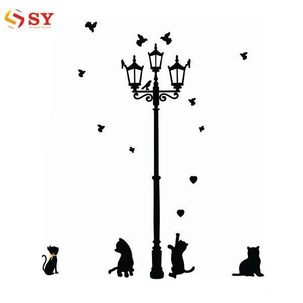 Begitu Muda Perekat Rumah Dekorasi 3 Sedikit Kucing Di Bawah Lampu Jalan DIY Dinding Stiker Wallpaper Mural Room Stiker-Internasional