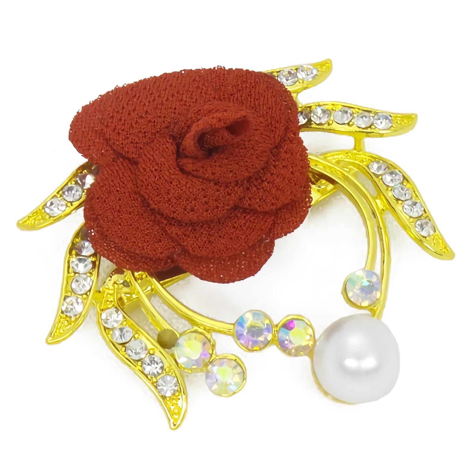 OFASHION Aksesoris Bros [1 Pcs] CA-618-B Hijab Jilbab Mawar Fashion Jewelry Xuping Emas Merah